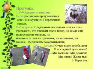 Прогулка. 1.Наблюдение за птицами. Цель: расширить представления детей о зим