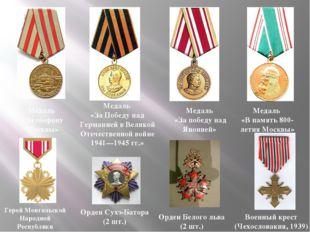 Медаль «За оборону Москвы» Медаль «За Победу над Германией в Великой Отечеств