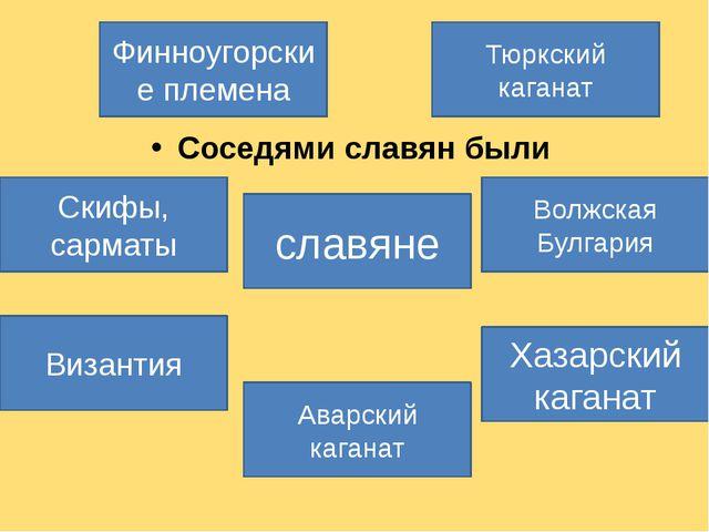 Соседями славян были  Соседями славян были