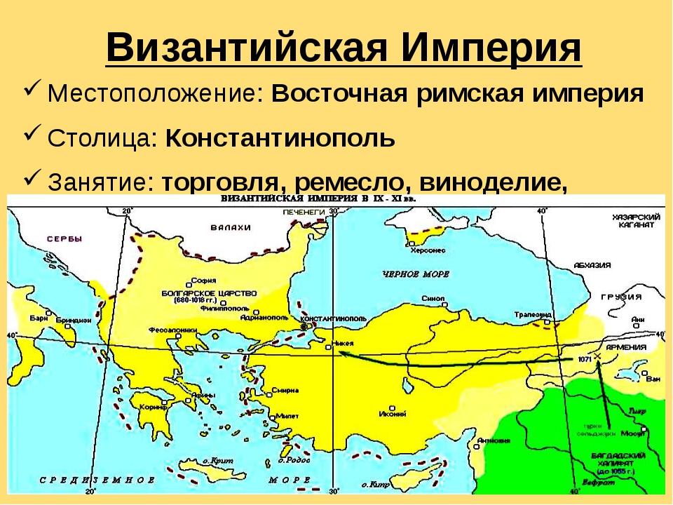 Византийская Империя Местоположение: Восточная римская империя  Столица: Ко...