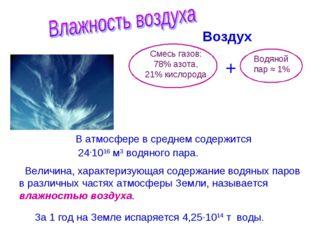 Воздух + Смесь газов: 78% азота, 21% кислорода Водяной пар ≈ 1% В атмосфере в