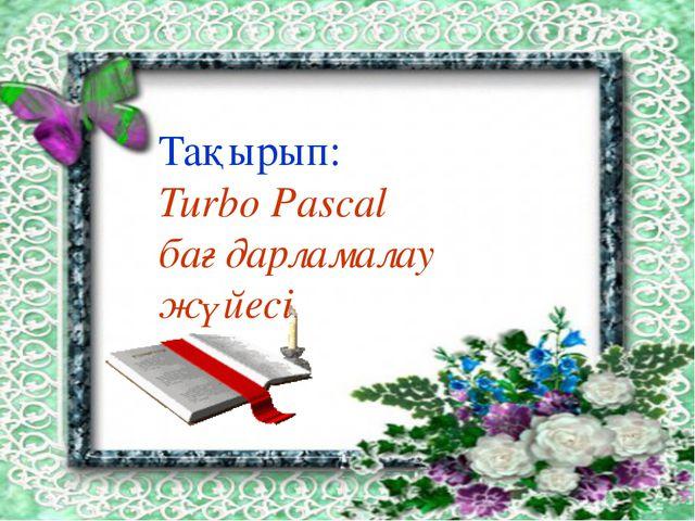 Турбо Паскаль тілінің негізгі элементтері. Басқа жоғары деңгейлі программала...