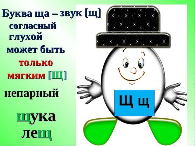 Буква ща – звук [щ] согласный глухой может быть только мягким [Щ] щука лещ Щ...