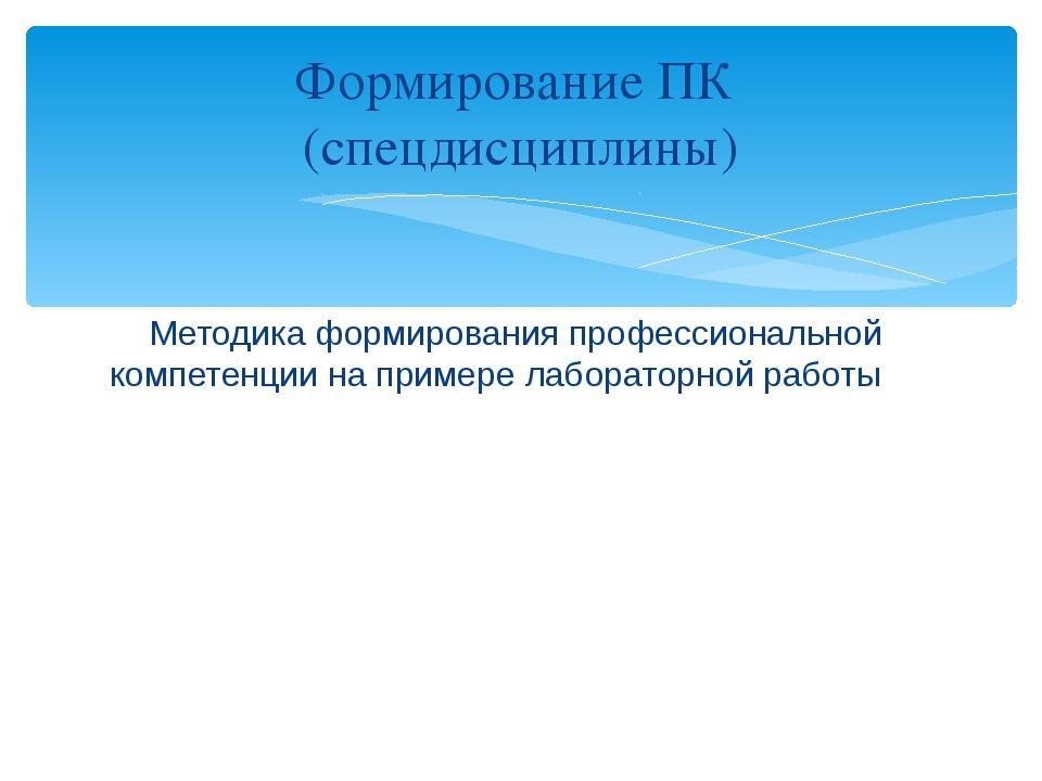 Методика формирования профессиональной компетенции на примере лабораторной р...