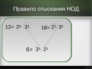 Правило отыскания НОД 12= 2²· 18= 2¹· 6= 3¹ 3² 3¹· 2¹