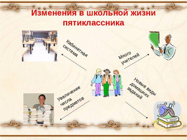 Много учителей Новые виды домашних заданий Увеличение числа предметов Кабинет...