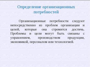 Определение организационных потребностей  Организационные потребности следу