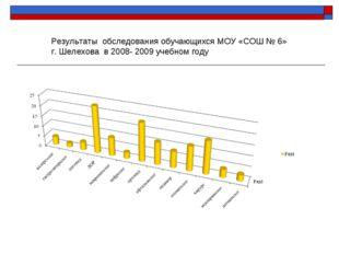 Результаты обследования обучающихся МОУ «СОШ № 6» г. Шелехова в 2008- 2009 уч