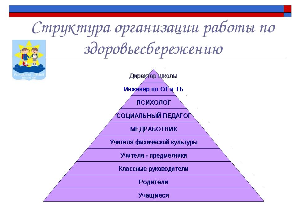 Структура организации работы по здоровьесбережению