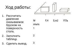 Ход работы: Рассчитать давление оказываемое бруском на поверхность стола. Зап