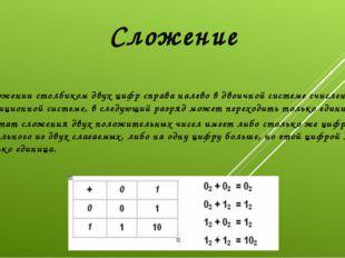 При сложении столбиком двух цифр справа налево в двоичной системе счисления,