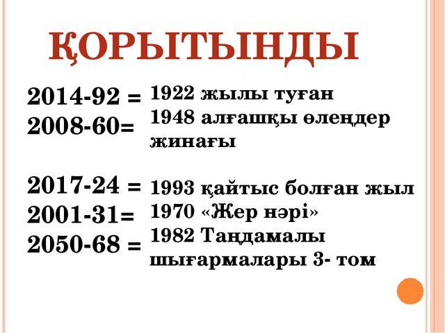 ҚОРЫТЫНДЫ 2014-92 = 2008-60= 2017-24 = 2001-31= 2050-68 = 1922 жылы туған 194...