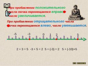 0 1 2 5 2 + 3 = 5 -3 + 5 = 2 -3 5 + (-3) = 2 5 + (-10)= -5 -5 При прибавлении