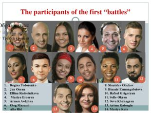 "The participants of the first ""battles"" 1 2 3 4 5 6 7 8 9 10 11 12 13 14 Regi"