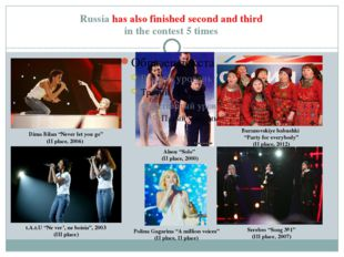 Russia has also finished second and third in the contest 5 times Dima Bilan ""