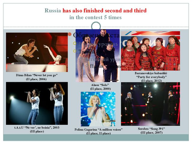"Russia has also finished second and third in the contest 5 times Dima Bilan ""..."