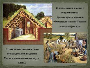 Жили семьями в домах – полуземлянках. Крышу крыли ветвями, обмазывали глиной.