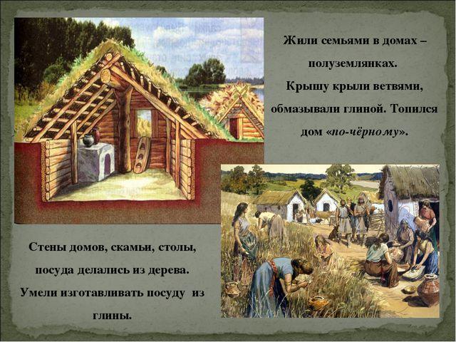 Жили семьями в домах – полуземлянках. Крышу крыли ветвями, обмазывали глиной....