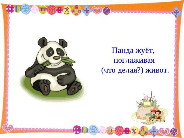 Панда жуёт,  поглаживая (что делая?) живот.  01.12.2010 Харламова И.С....