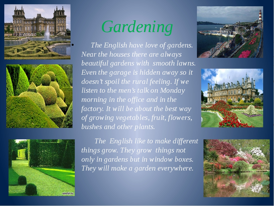 Gardening The English have love of gardens. Near the houses there are always...