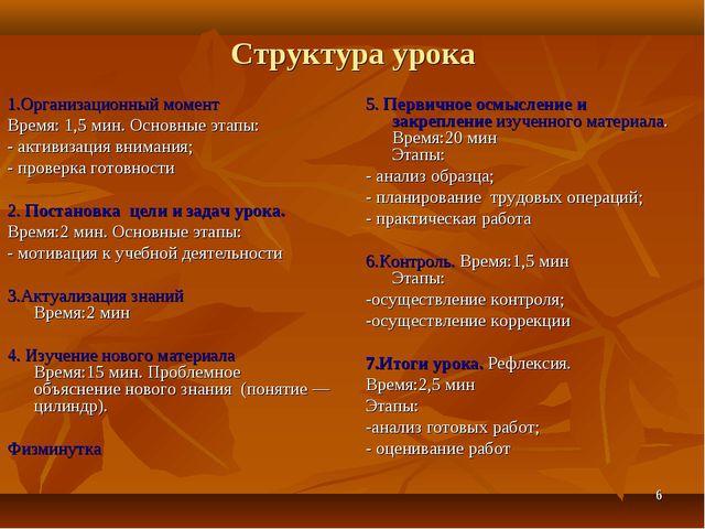 * Структура урока 1.Организационный момент Время: 1,5 мин. Основные этапы: -...