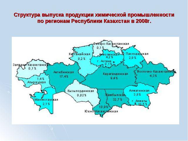 Структура выпуска продукции химической промышленности по регионам Республики...