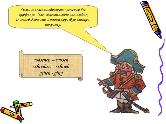 Сильные глаголы образуют претерит без суффикса –(e)te, обязательного для слаб...