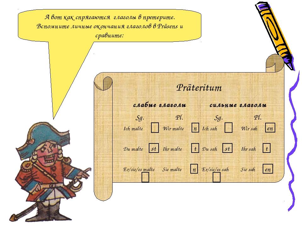 А вот как спрягаются глаголы в претерите. Вспомните личные окончания глаголов...