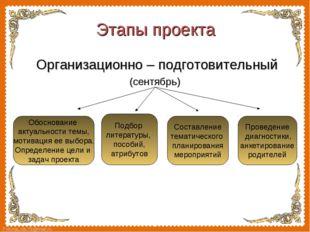 Организационно – подготовительный  Организационно – подготовительный (сентя