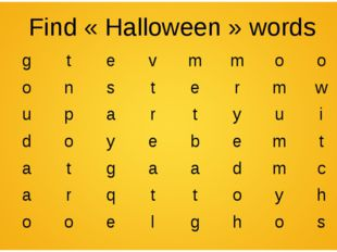 Find «Halloween» words kgtevmmoon monstermwt mupart