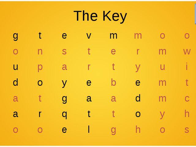 The Key kgtevmmoon monstermwt mupartyuir sdoy...