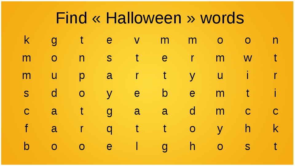 Find «Halloween» words kgtevmmoon monstermwt mupart...