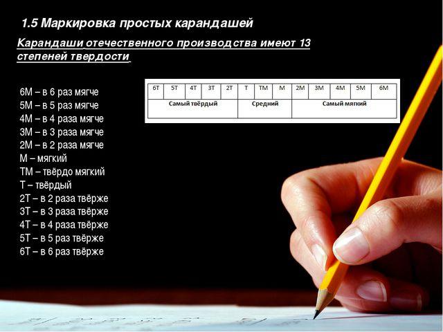 Введение 1.5 Маркировка простых карандашей Карандаши отечественного производс...