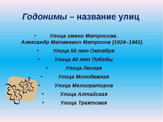 Годонимы – название улиц Улица имени Матросова. Александр Матвеевич Матросов...
