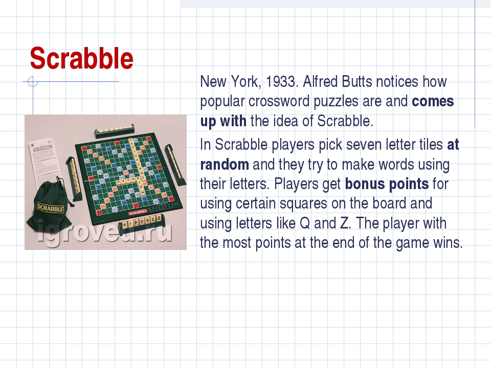 Scrabble New York, 1933. Alfred Butts notices how popular crossword puzzles a...