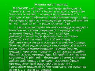 Жалпы мағлұматтар. MS WORD - мәтіндік құжаттарды дайындауға, түзетуге және қ
