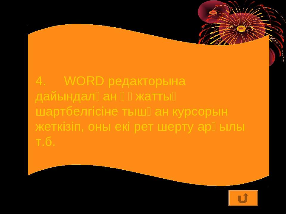 4.WORD редакторына дайындалған құжаттың шартбелгісіне тышқан курсорын жеткіз...
