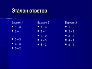 Эталон ответов Вариант 1 1 – 3 2 – 1 3 – 3 4 – 3 5 – 2 Вариант 3 1 – 2 2 – 3