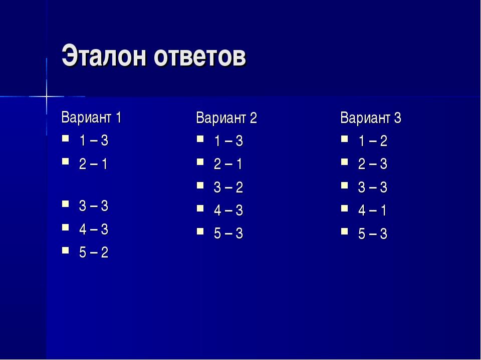 Эталон ответов Вариант 1 1 – 3 2 – 1 3 – 3 4 – 3 5 – 2 Вариант 3 1 – 2 2 – 3...