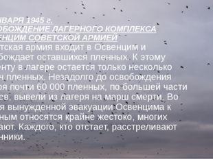 27 ЯНВАРЯ 1945 г. ОСВОБОЖДЕНИЕ ЛАГЕРНОГО КОМПЛЕКСА ОСВЕНЦИМ СОВЕТСКОЙ АРМИЕЙ