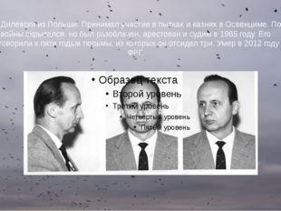 Клаус Дилевски из Польши. Принимал участие в пытках и казнях в Освенциме. Пос