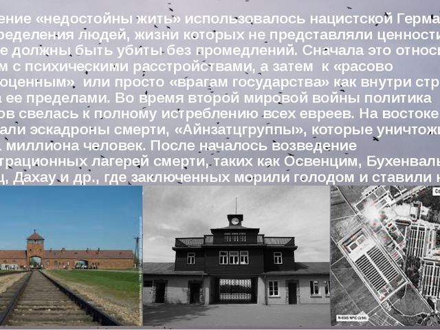 Выражение «недостойны жить» использовалось нацистской Германией для определен...