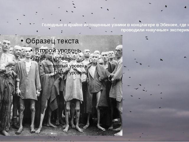 Голодные и крайне истощенные узники в концлагере в Эбензее, где немцы проводи...