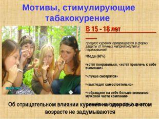 Мотивы, стимулирующие табакокурение В 15 - 18 лет процесс курения превращаетс