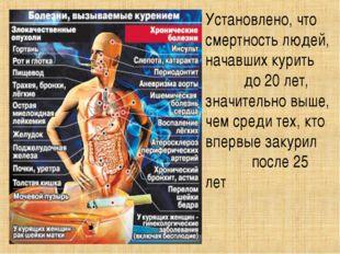 Установлено, что смертность людей, начавших курить до 20 лет, значительно выш