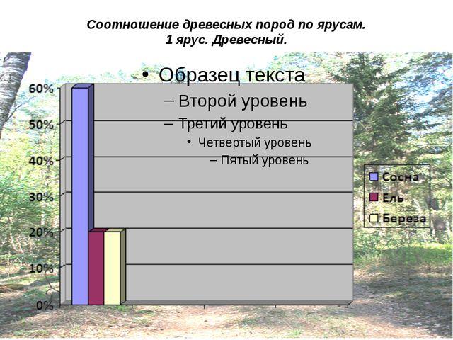 Соотношение древесных пород по ярусам. 1 ярус. Древесный.