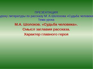 ПРЕЗЕНТАЦИЯ к уроку литературы по рассказу М. А.Шолохова «Судьба человека» Те