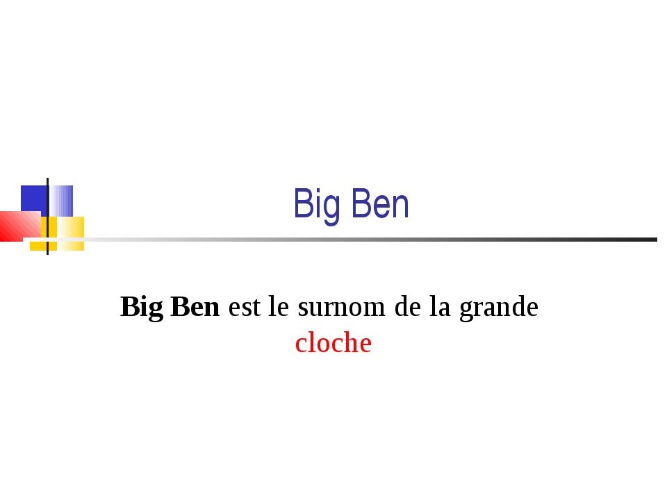 Big Ben Big Ben est le surnom de la grande cloche