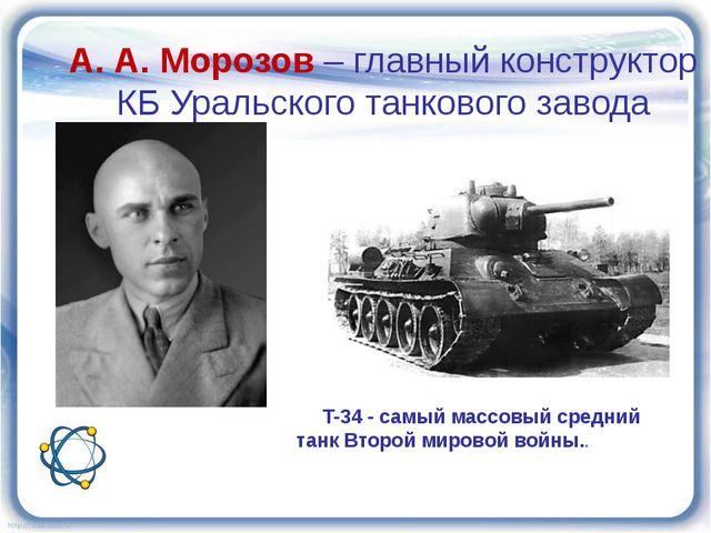 T-34 - самый массовый средний танк Второй мировой войны.. А. А. Морозов – гл...