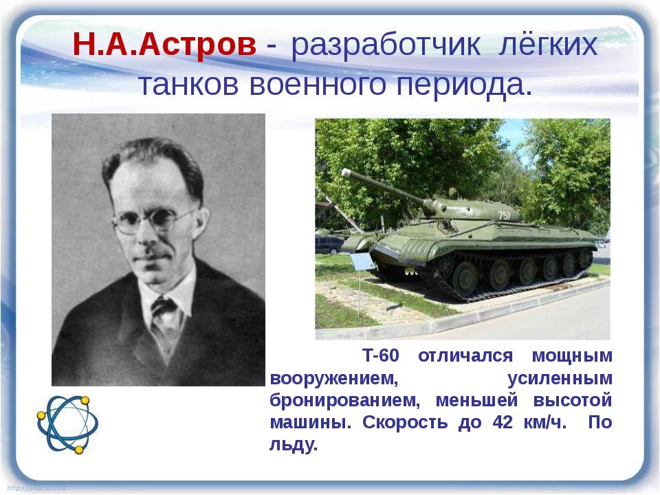 Н.А.Астров - разработчик лёгких танков военного периода. Т-60 отличался мощны...